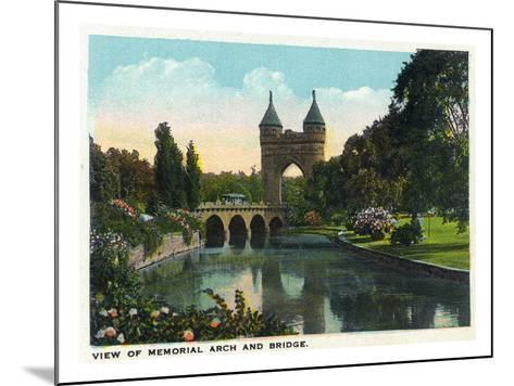 Hartford, Connecticut - Bushnell Park Memorial Arch and Bridge Scene-Lantern Press-Mounted Art Print