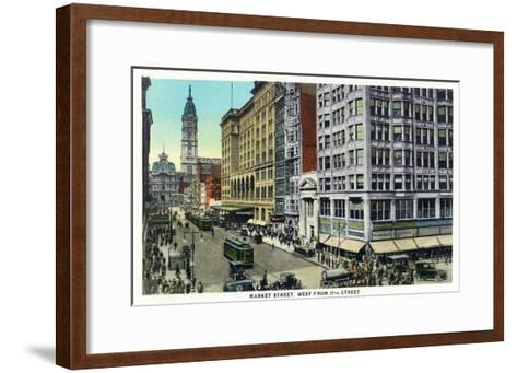 Philadelphia, Pennsylvania - Market Street West from 11th Street-Lantern Press-Framed Art Print