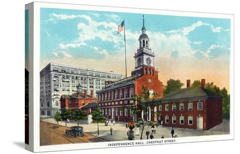 Philadelphia, Pennsylvania - Independence Hall from Chestnut Street-Lantern Press-Stretched Canvas Print