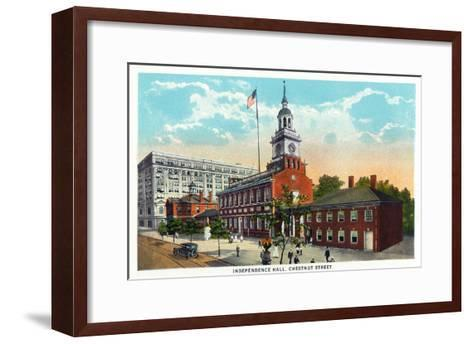 Philadelphia, Pennsylvania - Independence Hall from Chestnut Street-Lantern Press-Framed Art Print