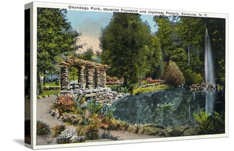 Syracuse, New York - Fountain and Japanese Pergola at Onondaga Park-Lantern Press-Stretched Canvas Print