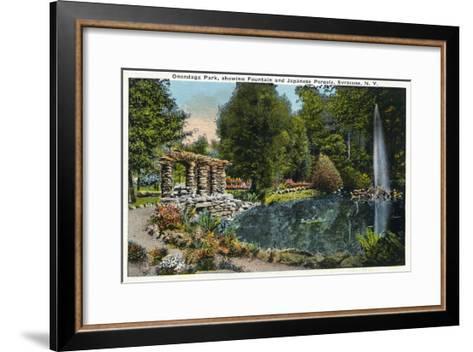 Syracuse, New York - Fountain and Japanese Pergola at Onondaga Park-Lantern Press-Framed Art Print
