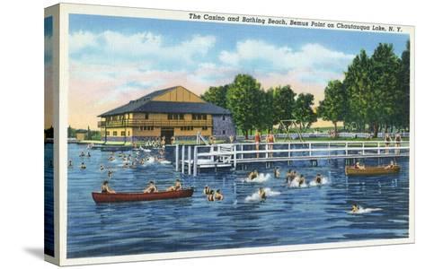 Chautauqua Lake, New York - Bemus Point, View of Casino and Beach-Lantern Press-Stretched Canvas Print