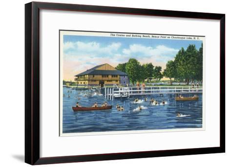 Chautauqua Lake, New York - Bemus Point, View of Casino and Beach-Lantern Press-Framed Art Print