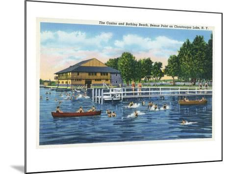 Chautauqua Lake, New York - Bemus Point, View of Casino and Beach-Lantern Press-Mounted Art Print