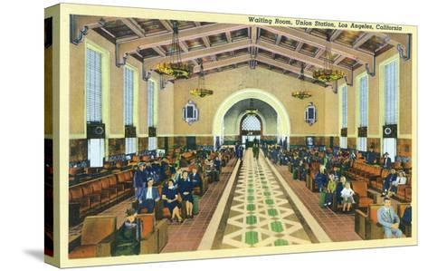 Los Angeles, California - Union Station Interior View of Waiting Room-Lantern Press-Stretched Canvas Print