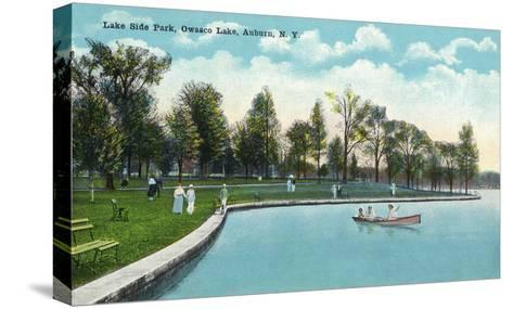Auburn, New York - Owasco Lake, View of Lakeside Park-Lantern Press-Stretched Canvas Print
