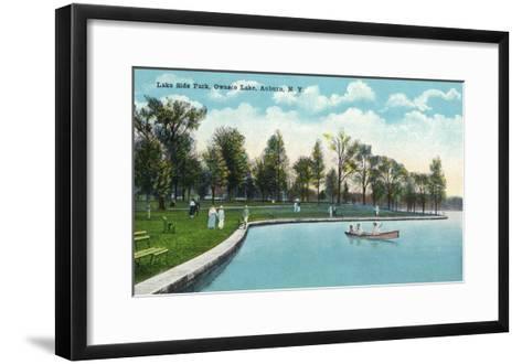 Auburn, New York - Owasco Lake, View of Lakeside Park-Lantern Press-Framed Art Print