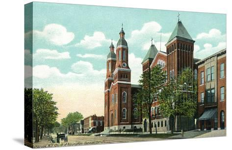 Syracuse, New York - Church of the Assumption Exterior View-Lantern Press-Stretched Canvas Print
