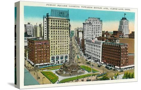 Cleveland, Ohio - Public Square, Euclid Avenue Aerial View-Lantern Press-Stretched Canvas Print