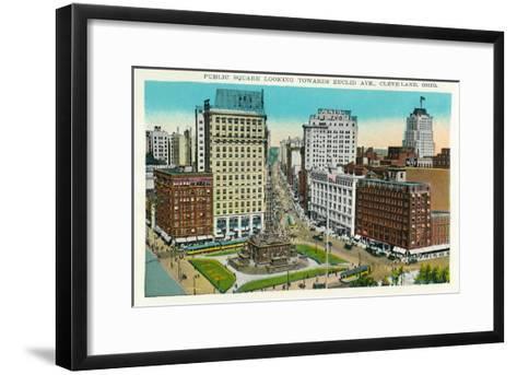 Cleveland, Ohio - Public Square, Euclid Avenue Aerial View-Lantern Press-Framed Art Print