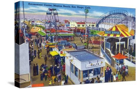 San Diego, California - Mission Beach Amusement Center Scene-Lantern Press-Stretched Canvas Print