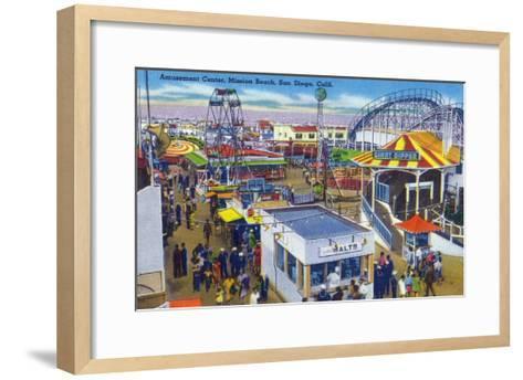 San Diego, California - Mission Beach Amusement Center Scene-Lantern Press-Framed Art Print