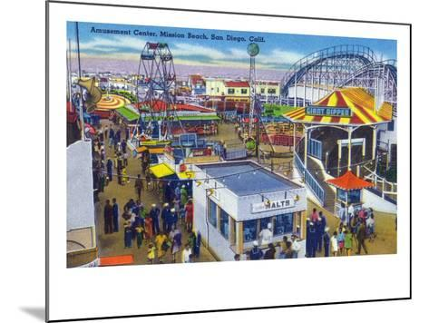 San Diego, California - Mission Beach Amusement Center Scene-Lantern Press-Mounted Art Print