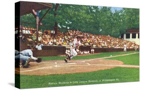 Williamsport, Pennsylvania - Kids Playing Little League Baseball-Lantern Press-Stretched Canvas Print