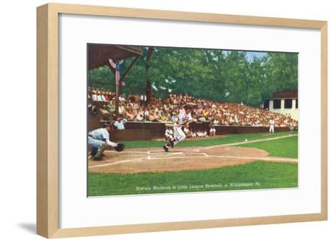 Williamsport, Pennsylvania - Kids Playing Little League Baseball-Lantern Press-Framed Art Print