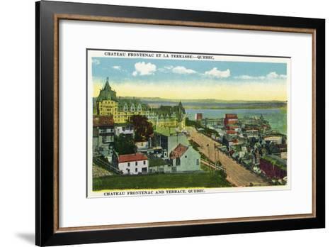Quebec, Canada - Chateau Frontenac and Terrace Scene-Lantern Press-Framed Art Print
