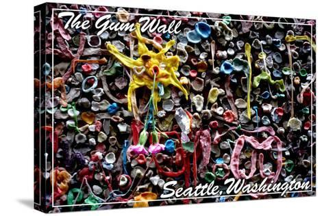 Seattle, Washington - Gum Wall on Post Alley-Lantern Press-Stretched Canvas Print