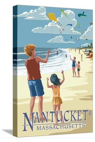 Nantucket, Massachusetts - Kite Flyers-Lantern Press-Stretched Canvas Print