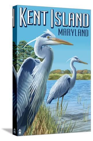 Blue Heron - Kent Island, Maryland-Lantern Press-Stretched Canvas Print