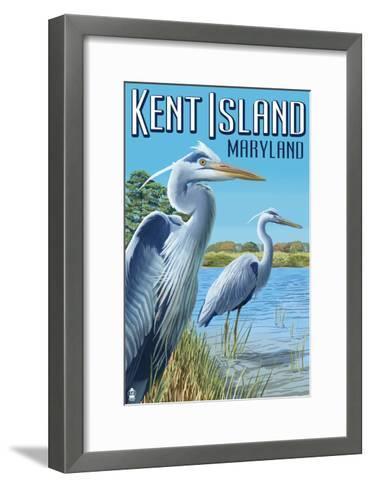 Blue Heron - Kent Island, Maryland-Lantern Press-Framed Art Print