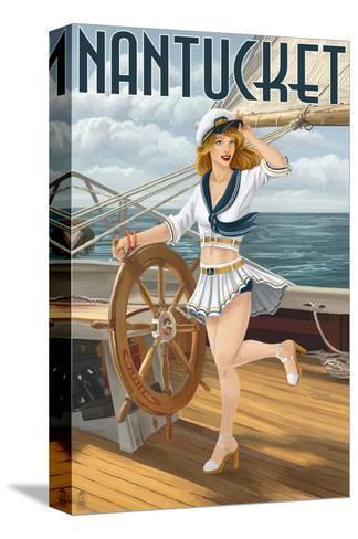 Nantucket, Massachusetts - Pinup Girl Sailing-Lantern Press-Stretched Canvas Print
