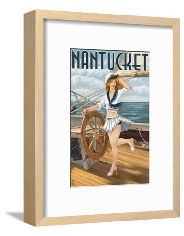Nantucket, Massachusetts - Pinup Girl Sailing-Lantern Press-Framed Art Print