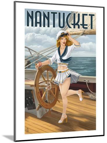 Nantucket, Massachusetts - Pinup Girl Sailing-Lantern Press-Mounted Art Print