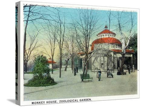 Cincinnati, Ohio - Zoological Gardens Monkey House-Lantern Press-Stretched Canvas Print