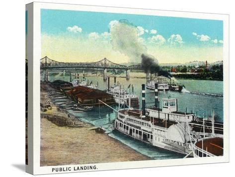 Cincinnati, Ohio - Public Boat Landing Scene-Lantern Press-Stretched Canvas Print