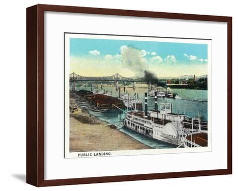 Cincinnati, Ohio - Public Boat Landing Scene-Lantern Press-Framed Art Print