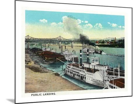 Cincinnati, Ohio - Public Boat Landing Scene-Lantern Press-Mounted Art Print