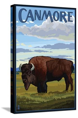 Canmore, Alberta, Canada - Solo Bison-Lantern Press-Stretched Canvas Print