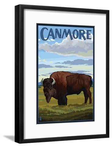 Canmore, Alberta, Canada - Solo Bison-Lantern Press-Framed Art Print
