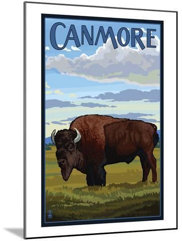 Canmore, Alberta, Canada - Solo Bison-Lantern Press-Mounted Art Print
