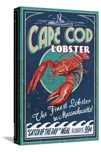 Cape Cod, Massachusetts - Lobster-Lantern Press-Stretched Canvas Print