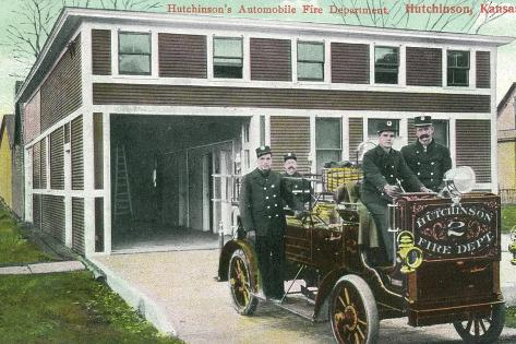 Hutchinson, Kansas - Fire Station No 2 Exterior with Truck View-Lantern Press-Stretched Canvas Print