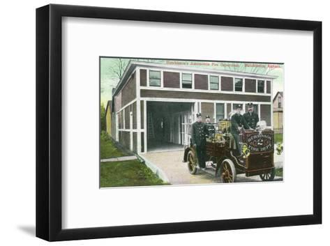 Hutchinson, Kansas - Fire Station No 2 Exterior with Truck View-Lantern Press-Framed Art Print