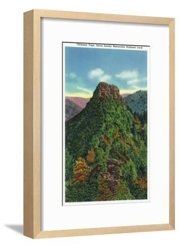 Great Smoky Mts Nat'l Park, TN - View of the Chimney Tops-Lantern Press-Framed Art Print