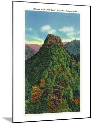 Great Smoky Mts Nat'l Park, TN - View of the Chimney Tops-Lantern Press-Mounted Art Print