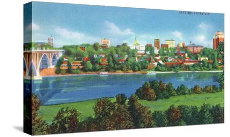 Knoxville, Tennessee - Panoramic View of the City Skyline-Lantern Press-Stretched Canvas Print