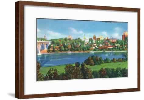 Knoxville, Tennessee - Panoramic View of the City Skyline-Lantern Press-Framed Art Print