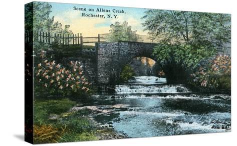 Rochester, New York - Allen's Creek Scene-Lantern Press-Stretched Canvas Print