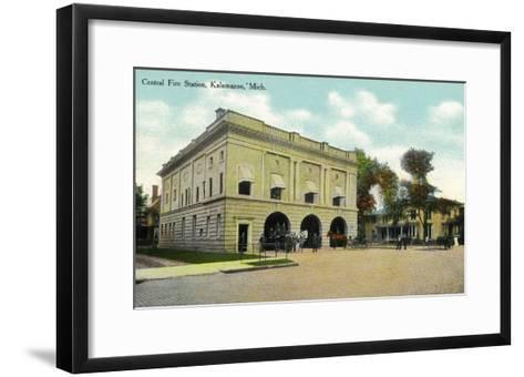 Kalamazoo, Michigan - Central Fire Station Exterior View-Lantern Press-Framed Art Print