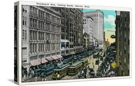 Detroit, Michigan - Woodward Avenue South Scene-Lantern Press-Stretched Canvas Print