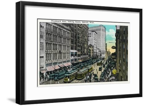 Detroit, Michigan - Woodward Avenue South Scene-Lantern Press-Framed Art Print