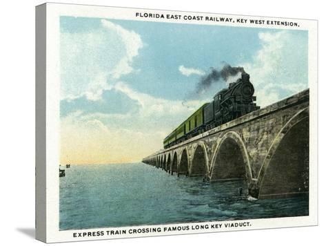 Key West, Florida - Long Key Viaduct Train Crossing Scene-Lantern Press-Stretched Canvas Print