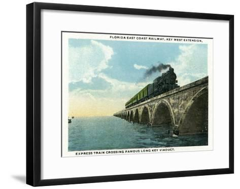 Key West, Florida - Long Key Viaduct Train Crossing Scene-Lantern Press-Framed Art Print