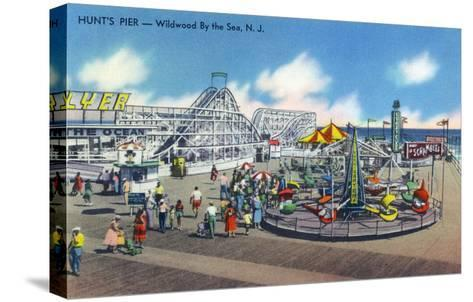Wildwood, New Jersey - Wildwood-By-The-Sea Hunt's Pier-Lantern Press-Stretched Canvas Print