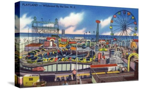 Wildwood, New Jersey - Wildwood-By-The-Sea Playland View-Lantern Press-Stretched Canvas Print